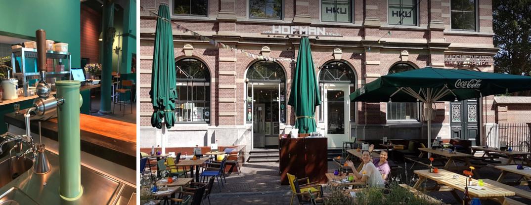 Geautomatiseerde bierzuil en terras bij Hofman cafe